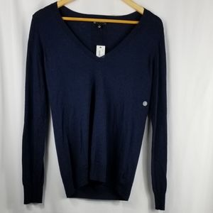 The Limited | Navy Wool V Neck Long Sleeve